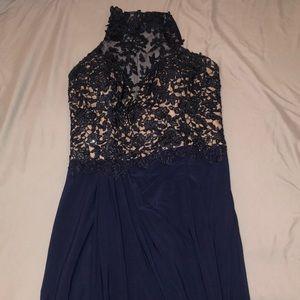 Long navy blue studded dress with slit in leg